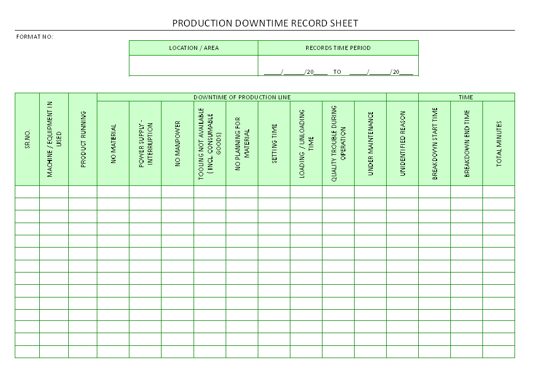 Production Downtime Record Sheet   Also Downtime Tracking Spreadsheet