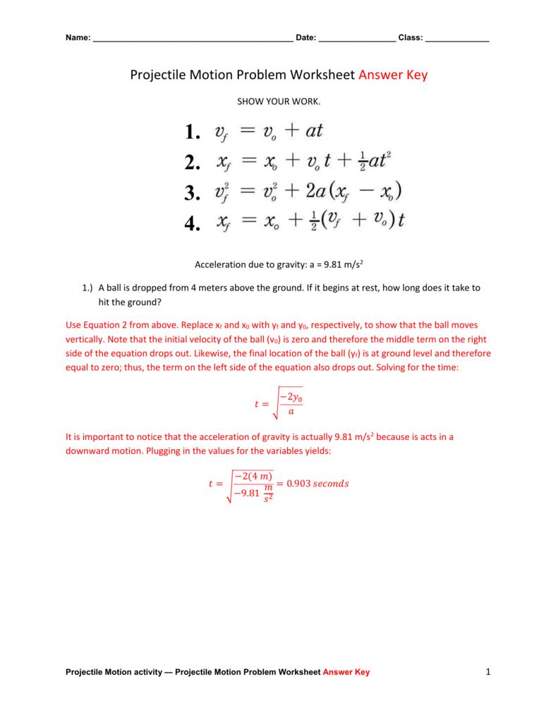 Projectile Motion Problem Worksheet Answer Key For Worksheet Motion Problems Part 2 Answer Key