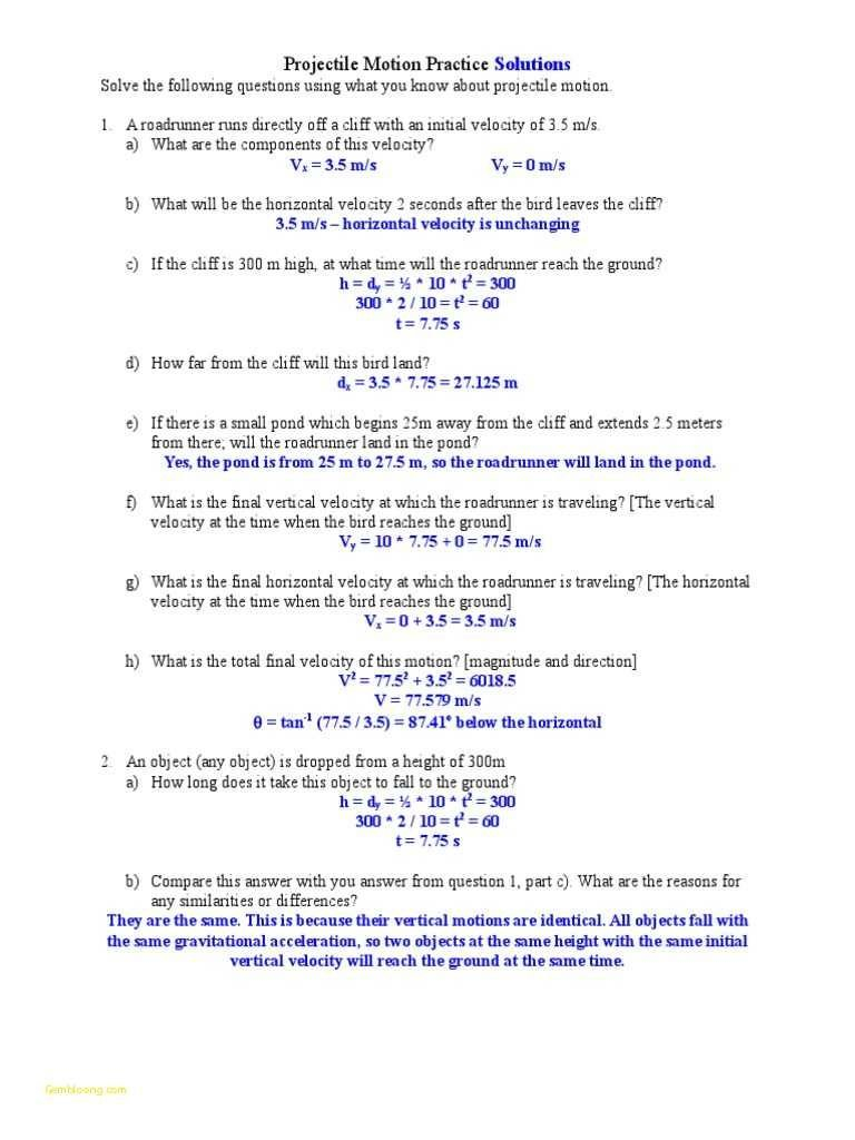 Projectile Motion Simulation Worksheet Answer Key  Briefencounters Throughout Projectile Motion Worksheet Answers The Physics Classroom