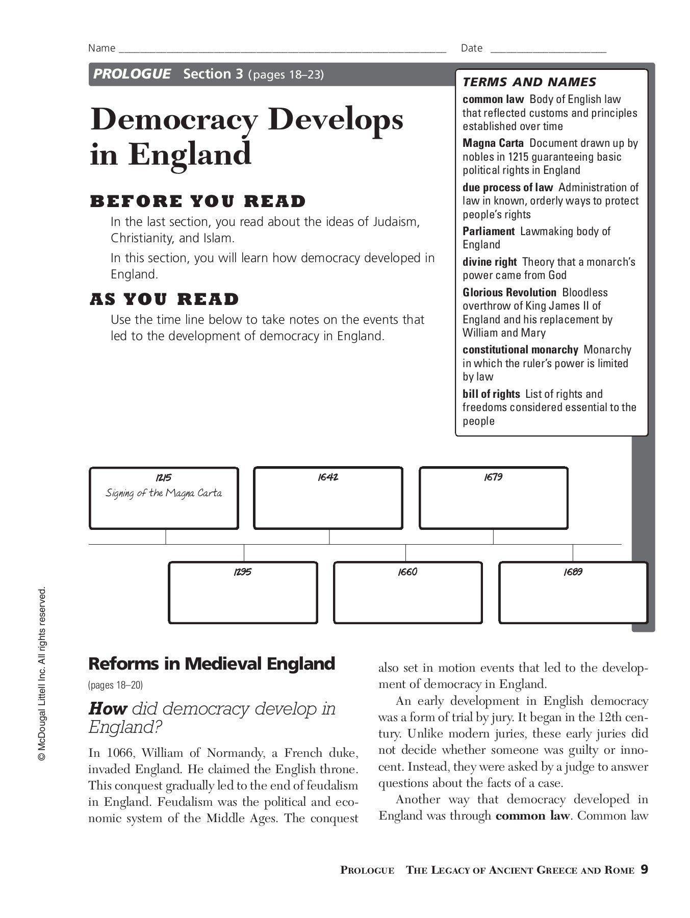 Prologue Democracy Develops In England  California State  Pages Throughout Democratic Developments In England Worksheet Answers
