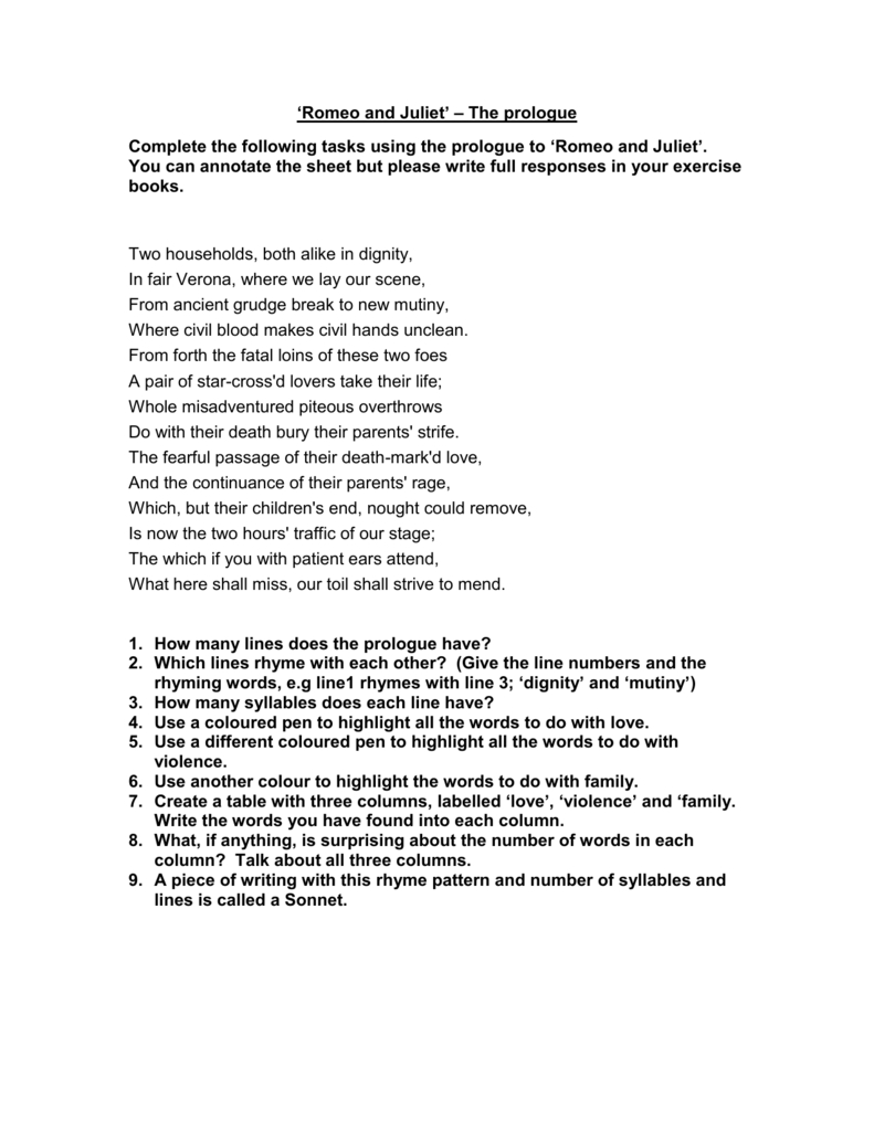 Prologue Version 1 Together With Romeo And Juliet Prologue Worksheet