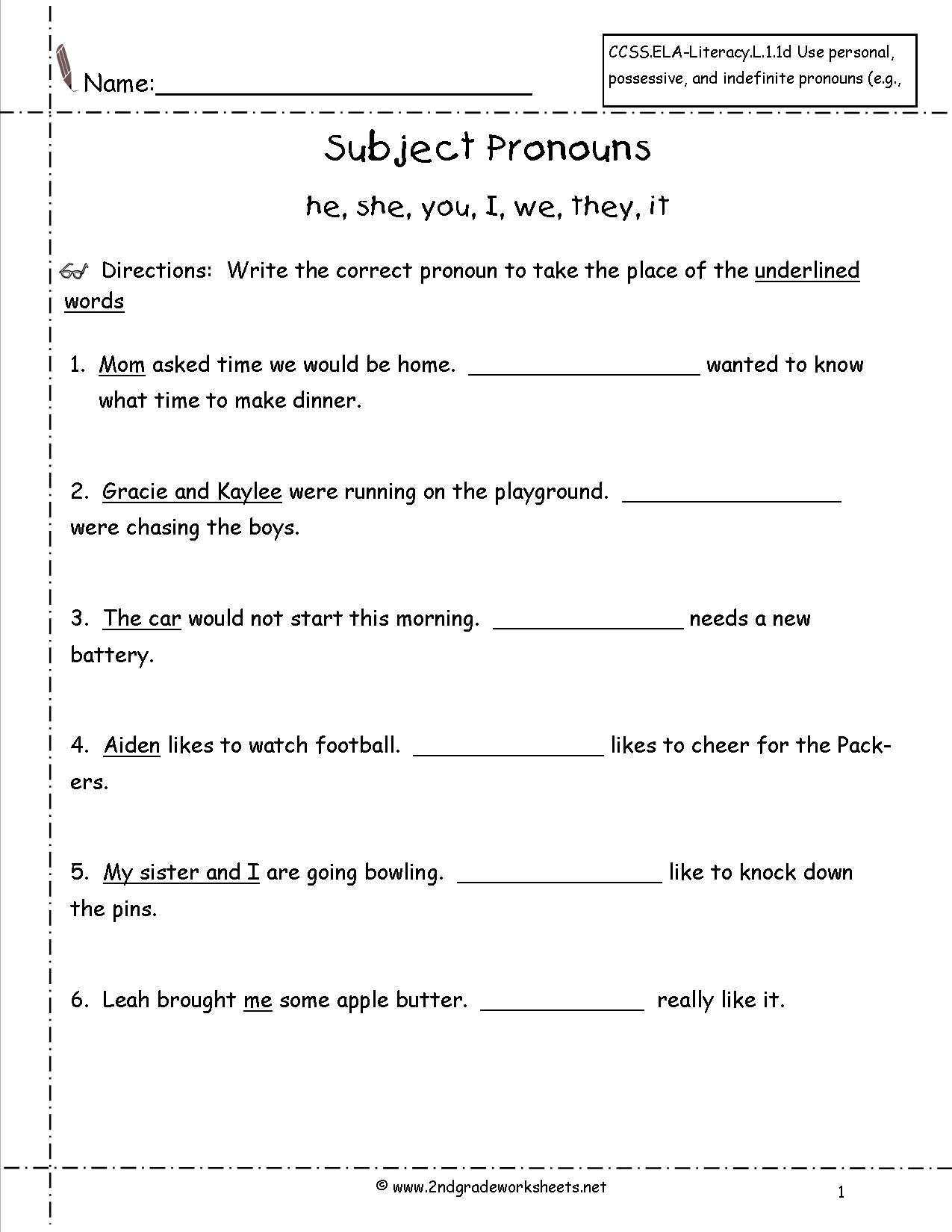 Pronouns Nouns Worksheets From The Teacher's Guide Together With Subject Pronoun Worksheets For Grade 2