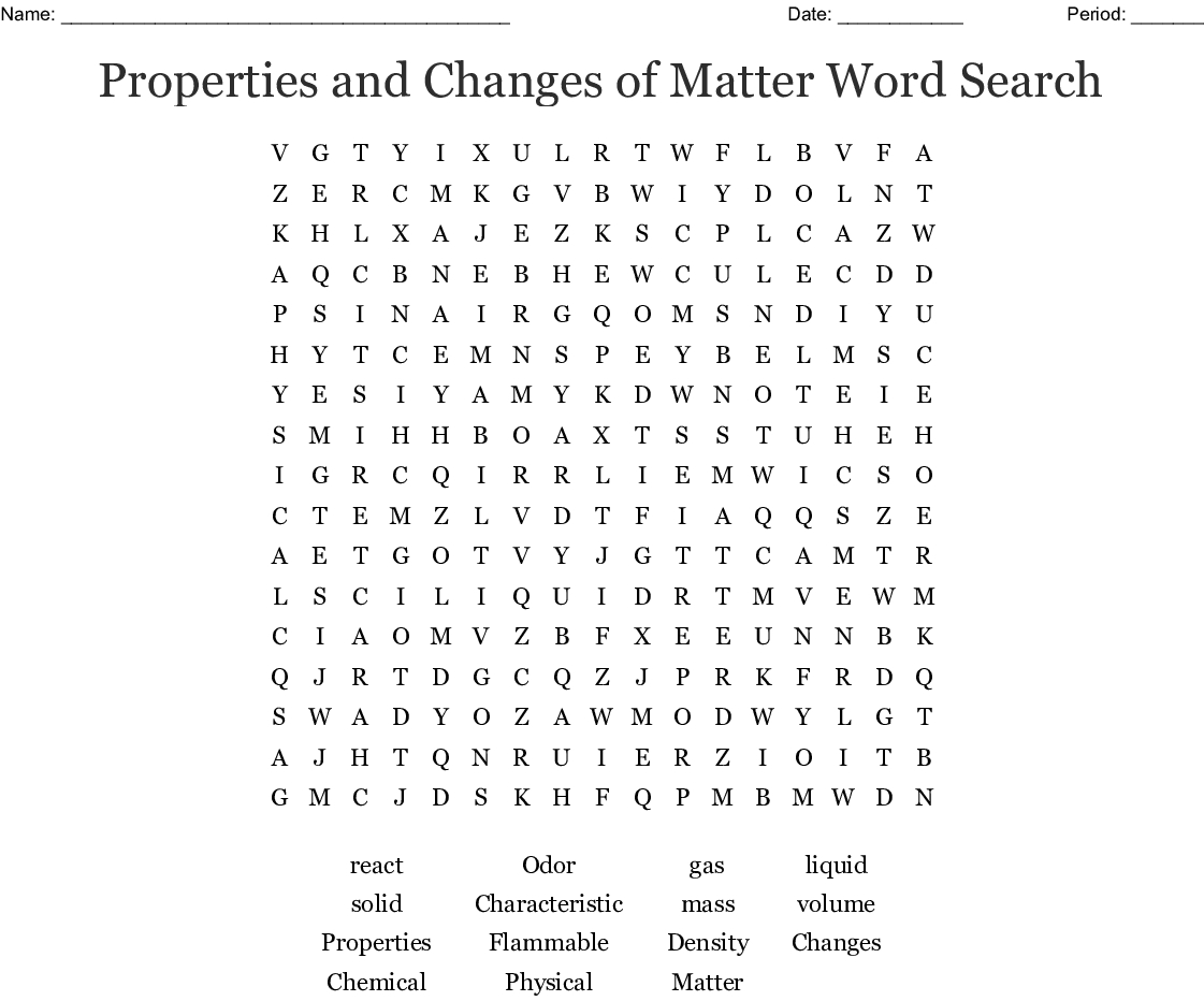 Properties And Changes Of Matter Word Search  Wordmint For Search For Matter Vocabulary Review Worksheet Answers