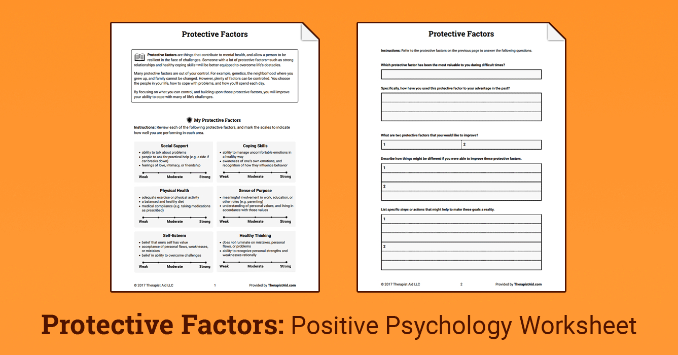 Protective Factors Worksheet  Therapist Aid For Positive Communication Skills Worksheets