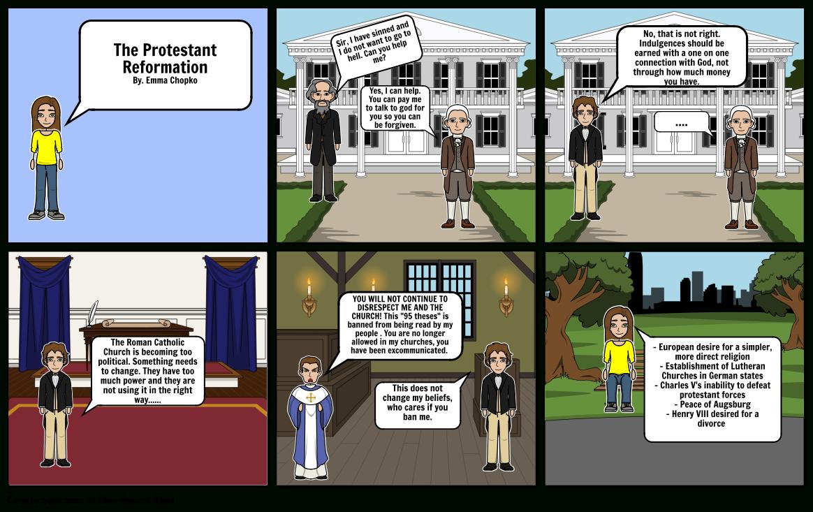 Protestant Reformation Comic Storyboardechopko Throughout Protestant Reformation Worksheet Pdf