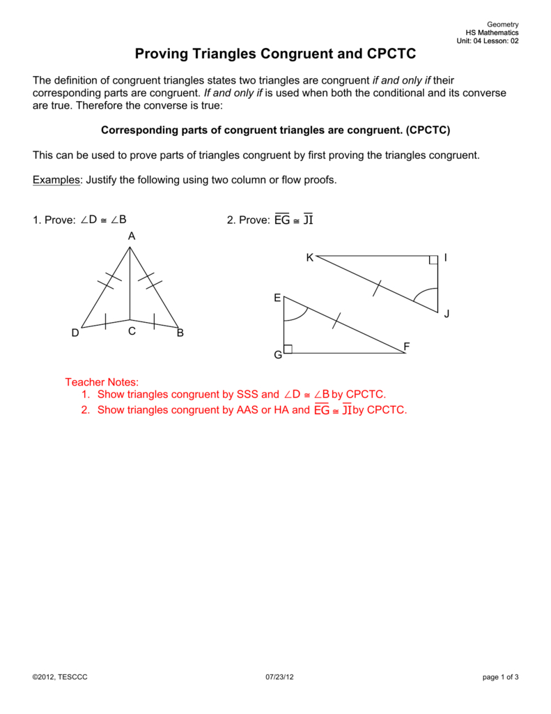 Proving Triangles Congruent And Cpctc Also Triangle Proofs Worksheet Answers