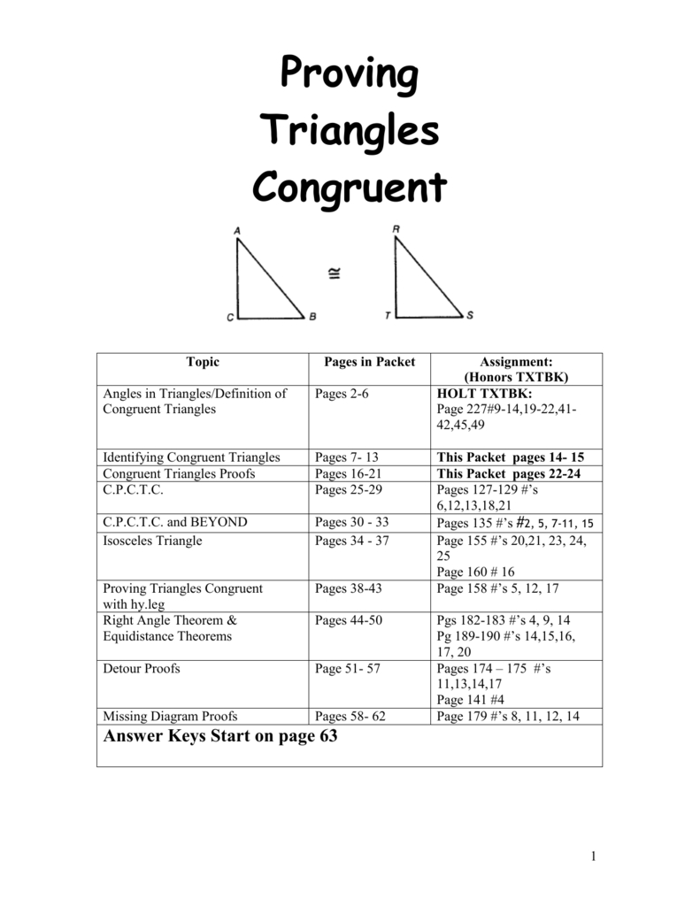 Proving Triangles Congruent For Proofs Practice Worksheet Answers