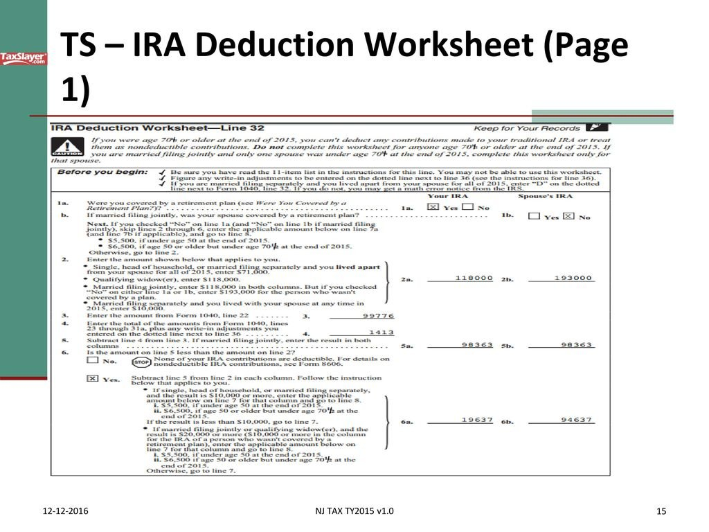Pub 17 Chapter Pub 4012 Tab E Federal 1040Lines 2337  Ppt Download In Ira Deduction Worksheet 2018