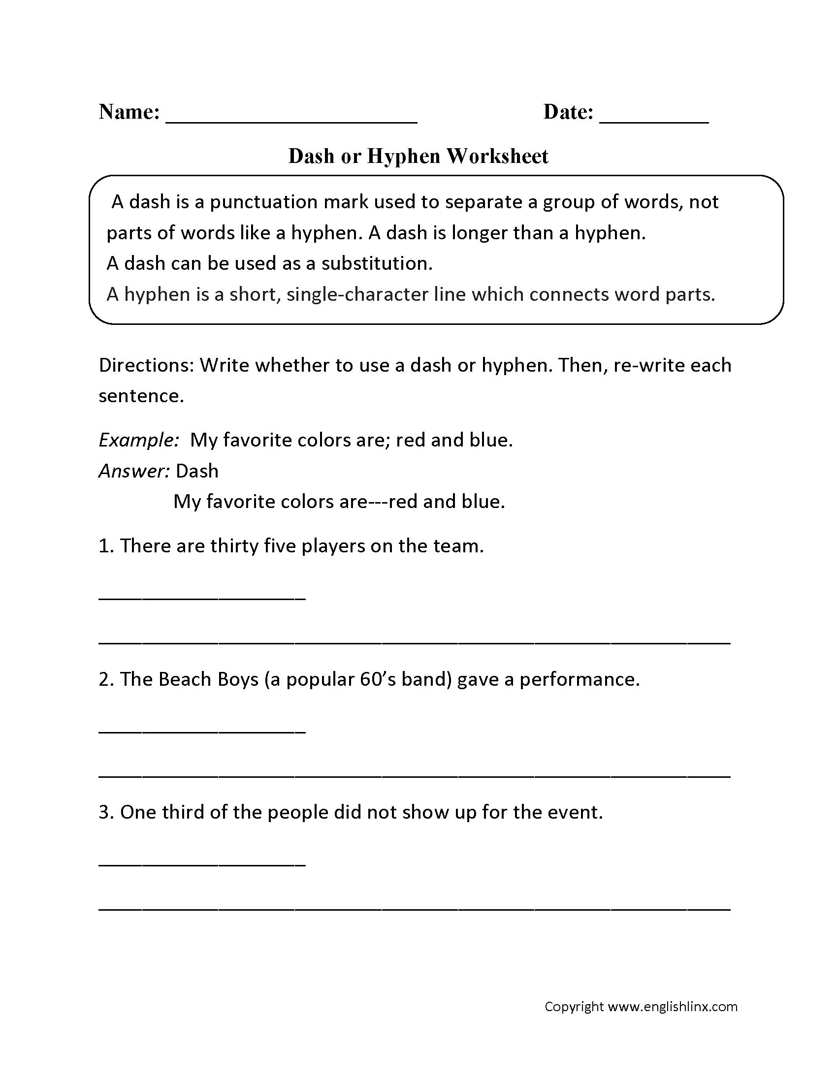 Punctuation Worksheets  Dash Worksheets Throughout Hyphens And Dashes Worksheet Answers