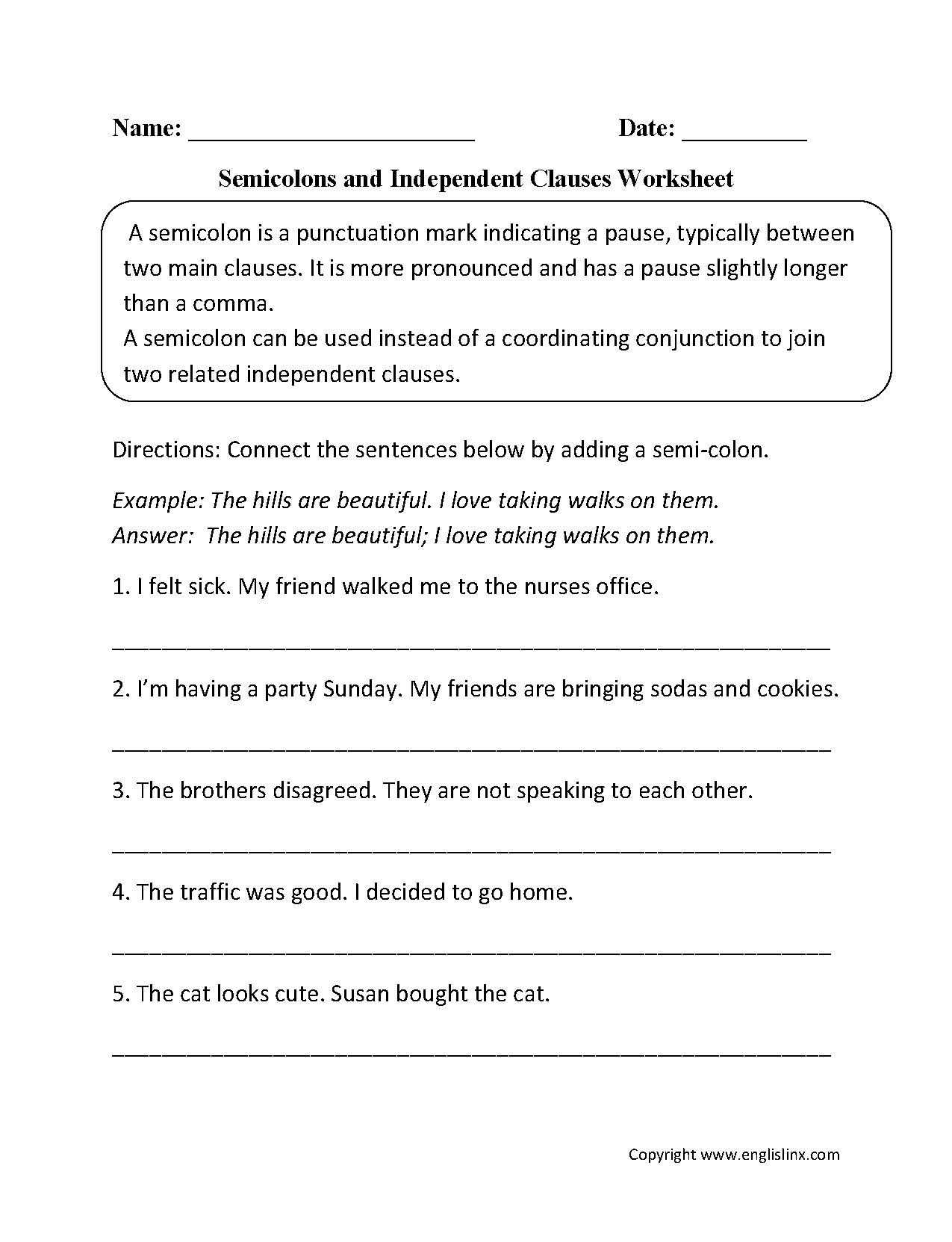 Punctuation Worksheets  Semicolon Worksheets With Commas Semicolons And Colons Worksheet