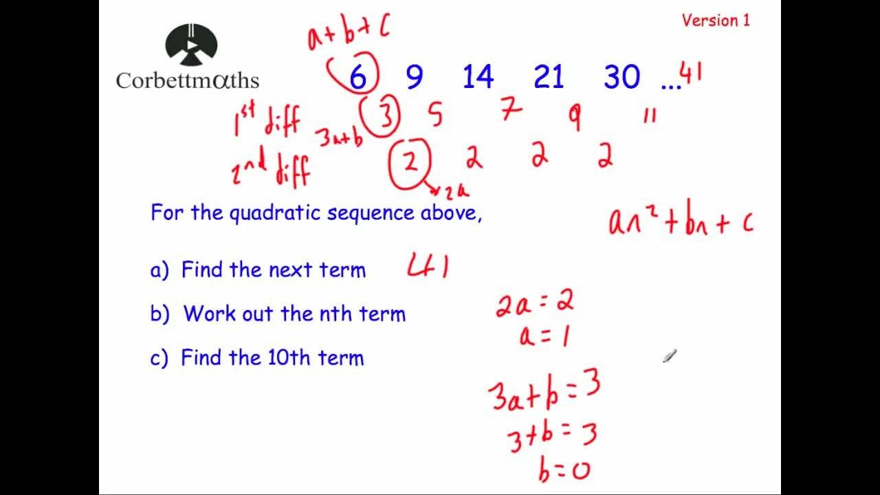 Quadratic Nth Term – Version 1  Corbettmaths With Regard To Quadratic Sequences Worksheet