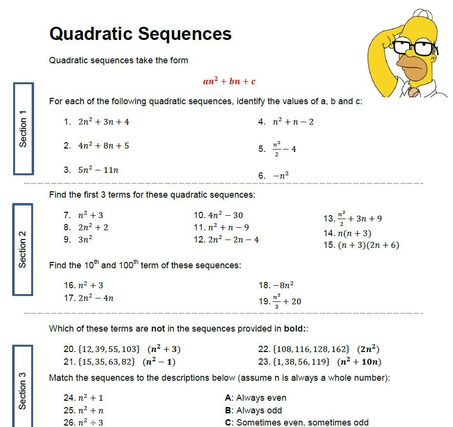 Quadratic Sequences Worksheet  Solve My Maths Together With Sequences Worksheet Answers