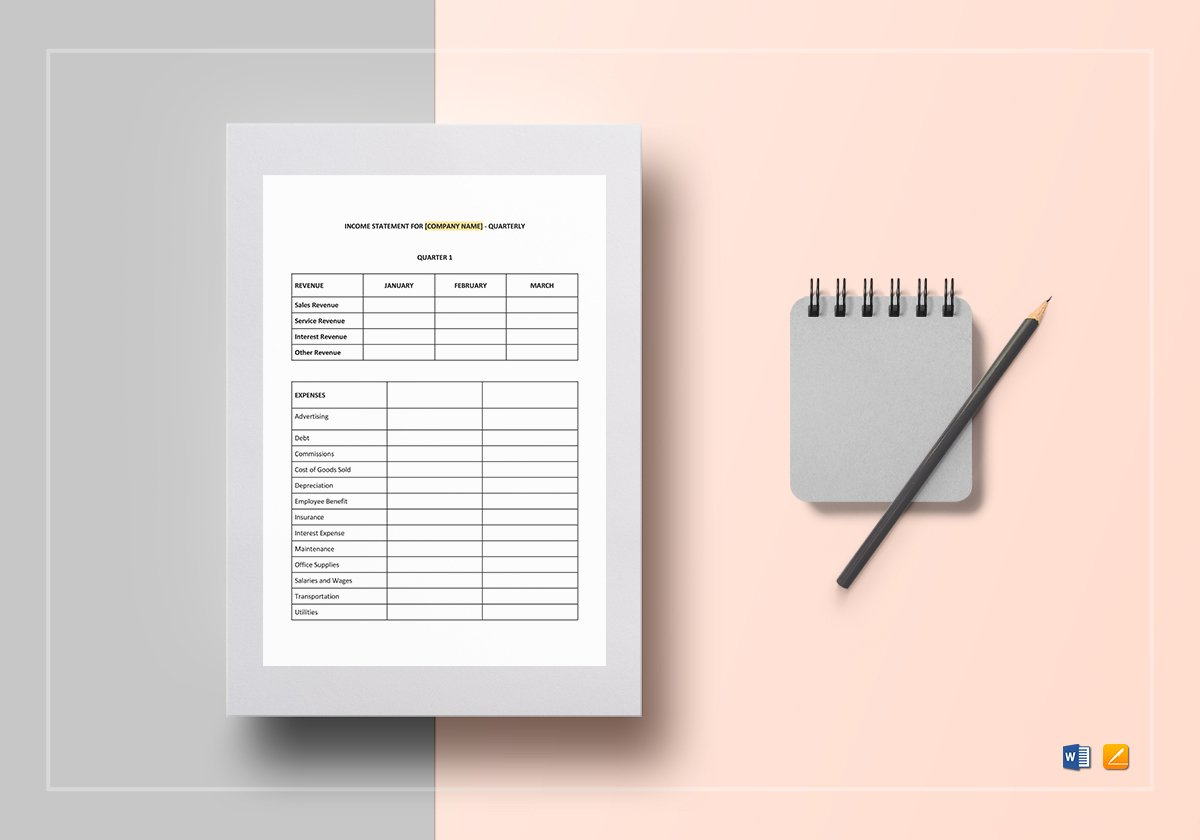 Quarterly Income Statement Template In Word, Google Docs, Apple Pages With Quarterly Income Statement Template