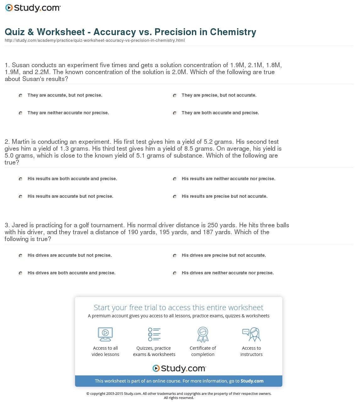 Quiz  Worksheet  Accuracy Vs Precision In Chemistry  Study Within Accuracy And Precision Chemistry Worksheet Answers