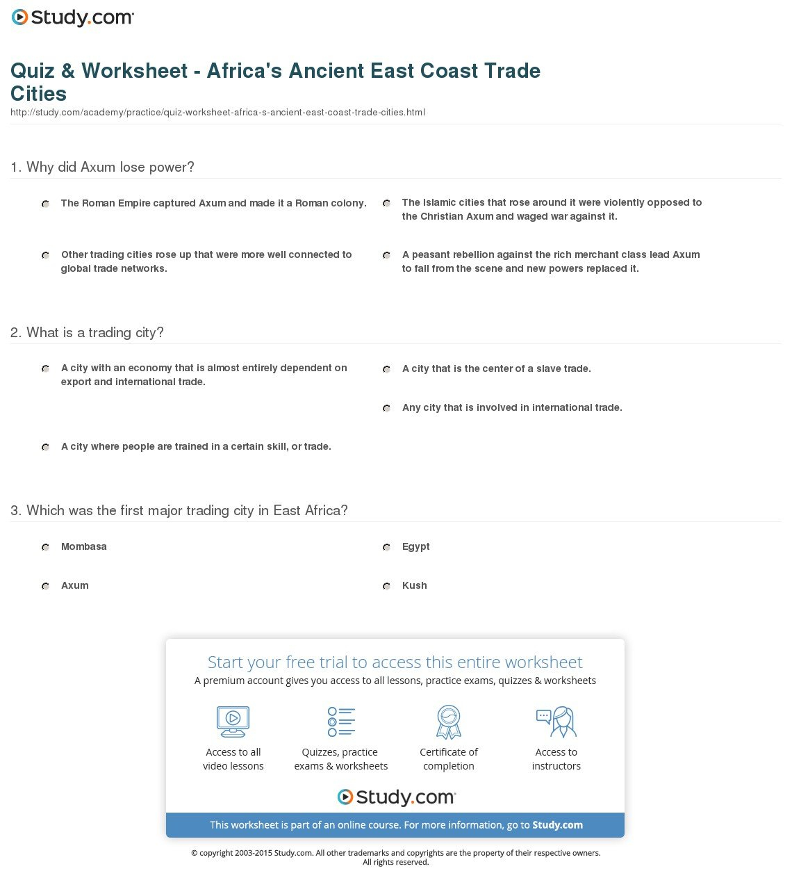 Quiz  Worksheet  Africa's Ancient East Coast Trade Cities  Study Throughout Early African Civilizations Worksheet Answers