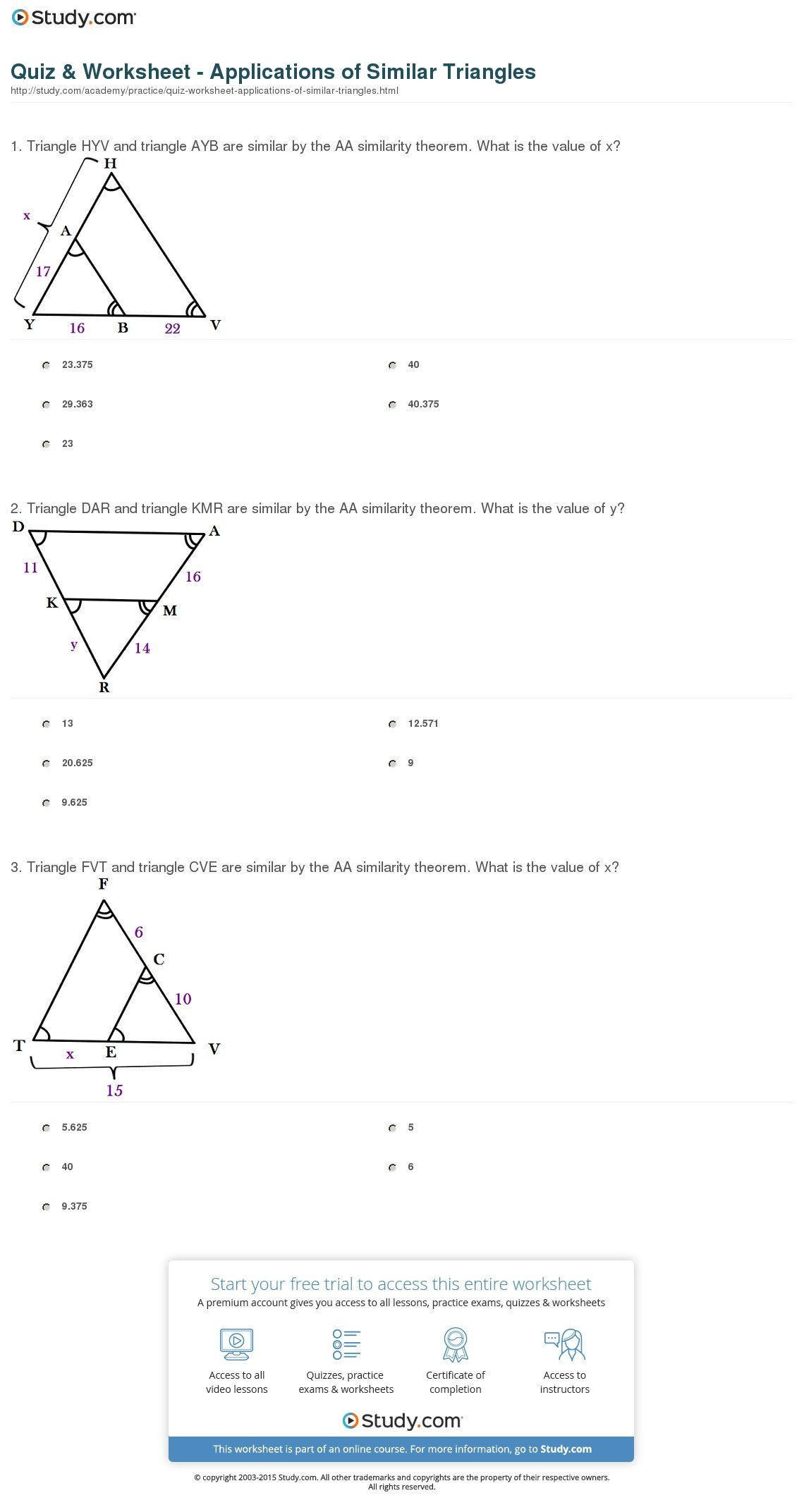 Quiz  Worksheet  Applications Of Similar Triangles  Study Throughout Similarity And Proportions Worksheet Answers
