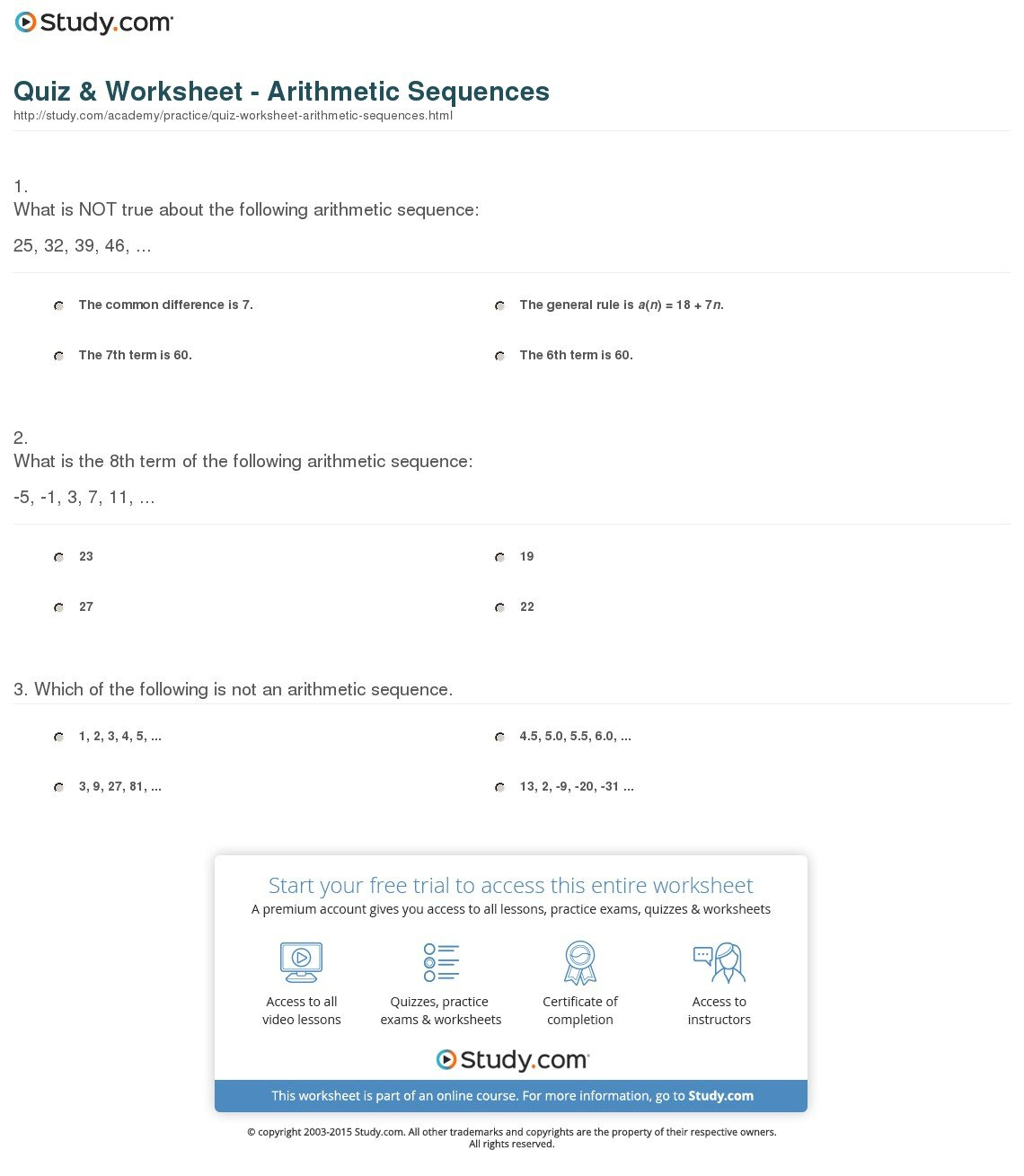 Quiz  Worksheet  Arithmetic Sequences  Study For Arithmetic Sequence Worksheet