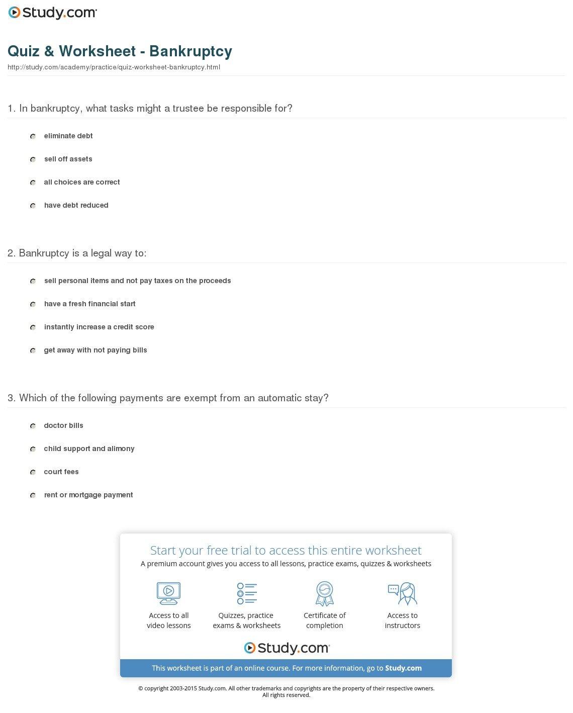 Quiz  Worksheet  Bankruptcy  Study In Bankruptcy Worksheet