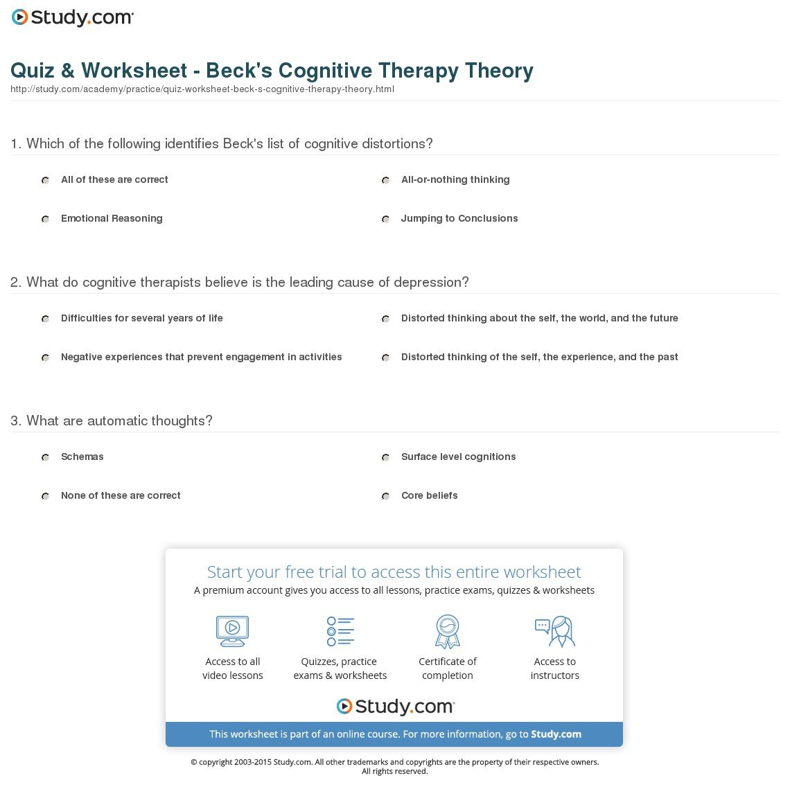 Quiz  Worksheet  Beck's Cognitive Therapy Theory  Study For Core Belief Worksheet Beck