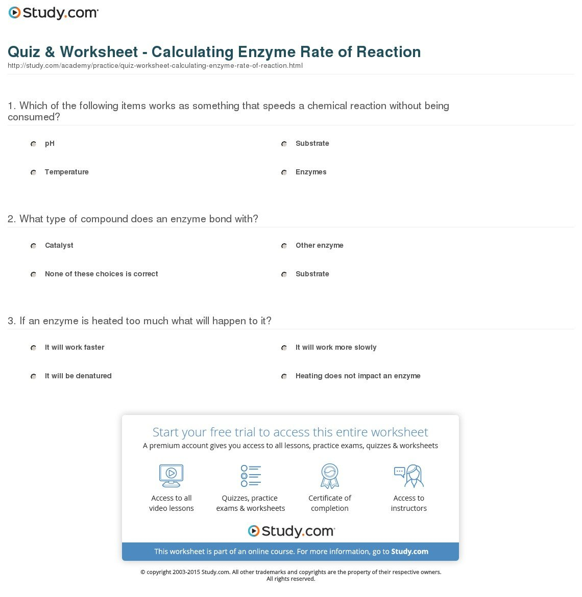 Quiz  Worksheet  Calculating Enzyme Rate Of Reaction  Study Throughout Enzyme Reaction Rates Worksheet