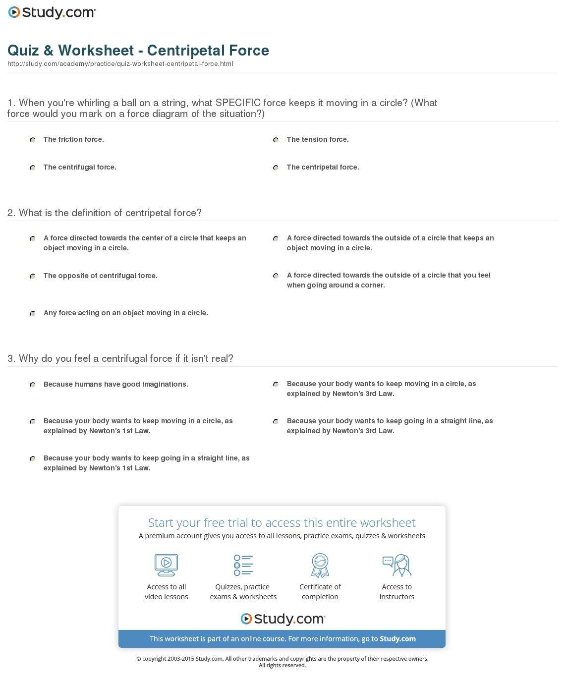 Quiz  Worksheet  Centripetal Force  Study Inside Centripetal Force Worksheet With Answers