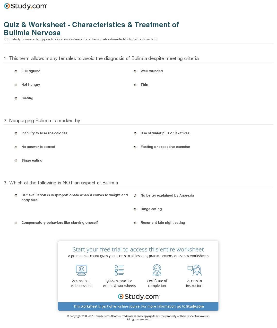 Quiz  Worksheet  Characteristics  Treatment Of Bulimia Nervosa For Eating Disorder Treatment Worksheets