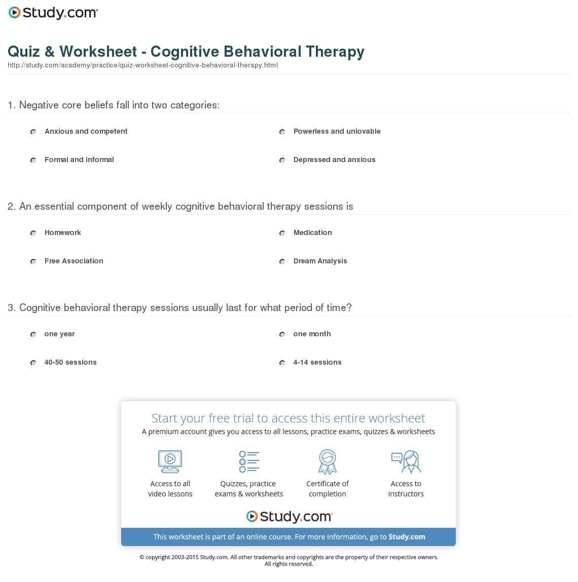 Quiz  Worksheet  Cognitive Behavioral Therapy  Study Regarding Therapy Worksheets For Oppositional Defiant Disorder