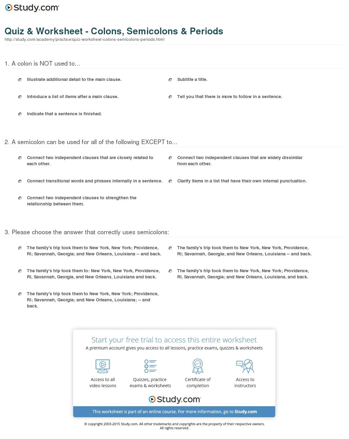 Quiz  Worksheet  Colons Semicolons  Periods  Study Inside Semicolon And Colon Worksheet With Answers
