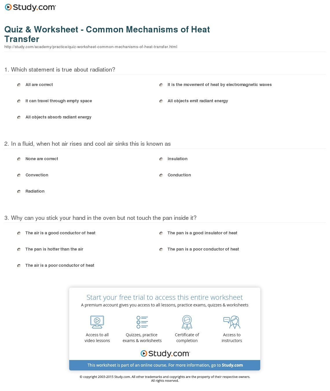 Quiz  Worksheet  Common Mechanisms Of Heat Transfer  Study Pertaining To Conduction Convection Radiation Worksheet Answer Key