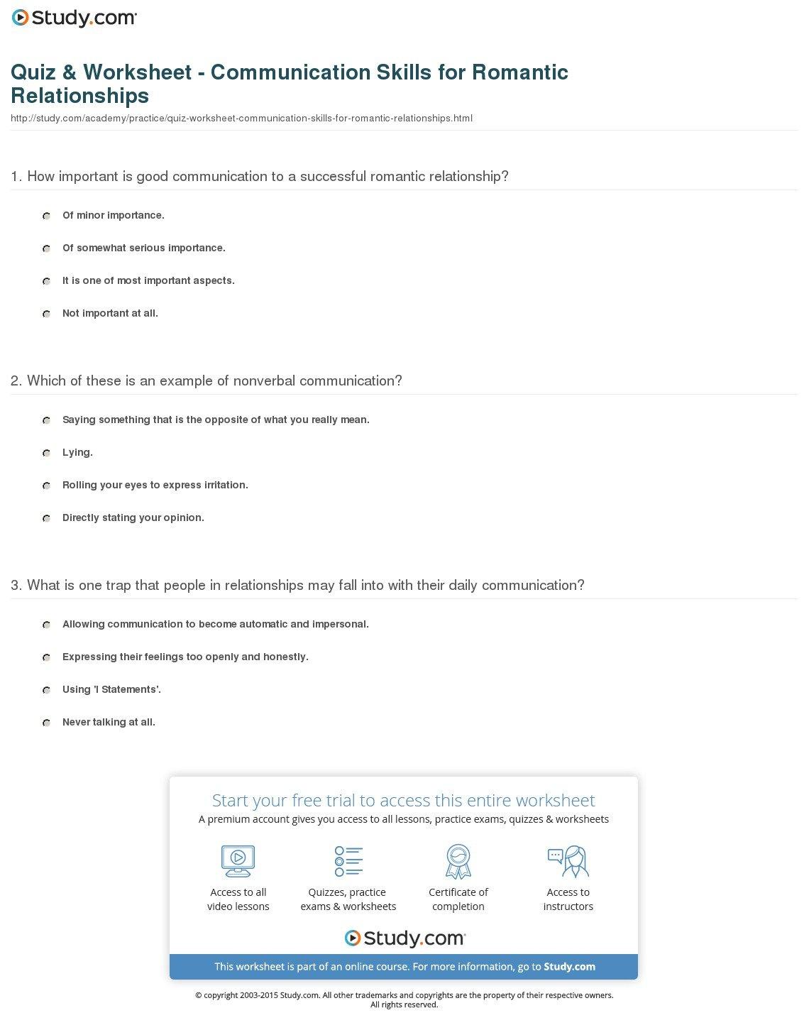 Quiz  Worksheet  Communication Skills For Romantic Relationships Throughout Communication Skills Worksheets