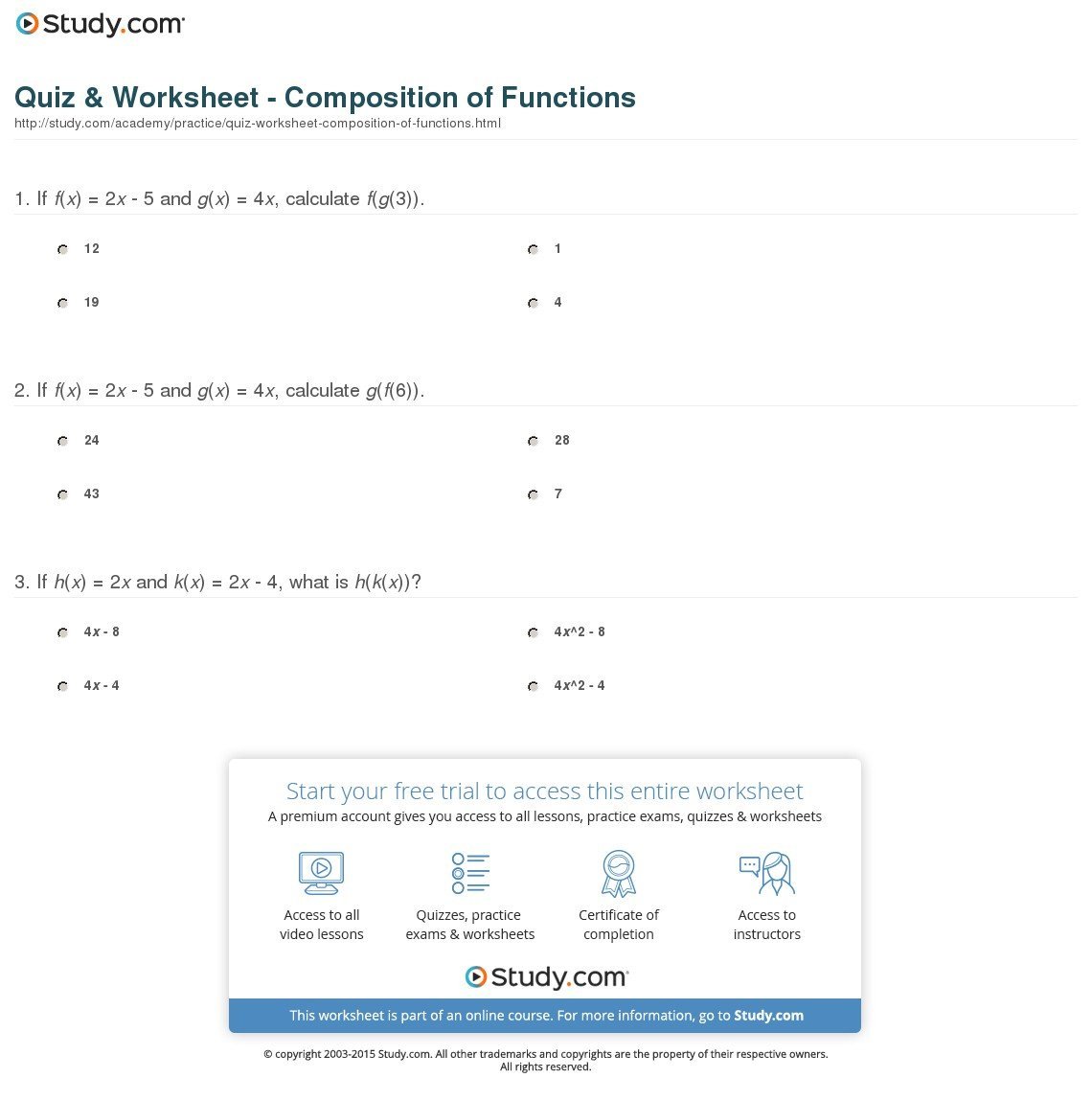 Quiz  Worksheet  Composition Of Functions  Study Also Composite Function Worksheet Answers