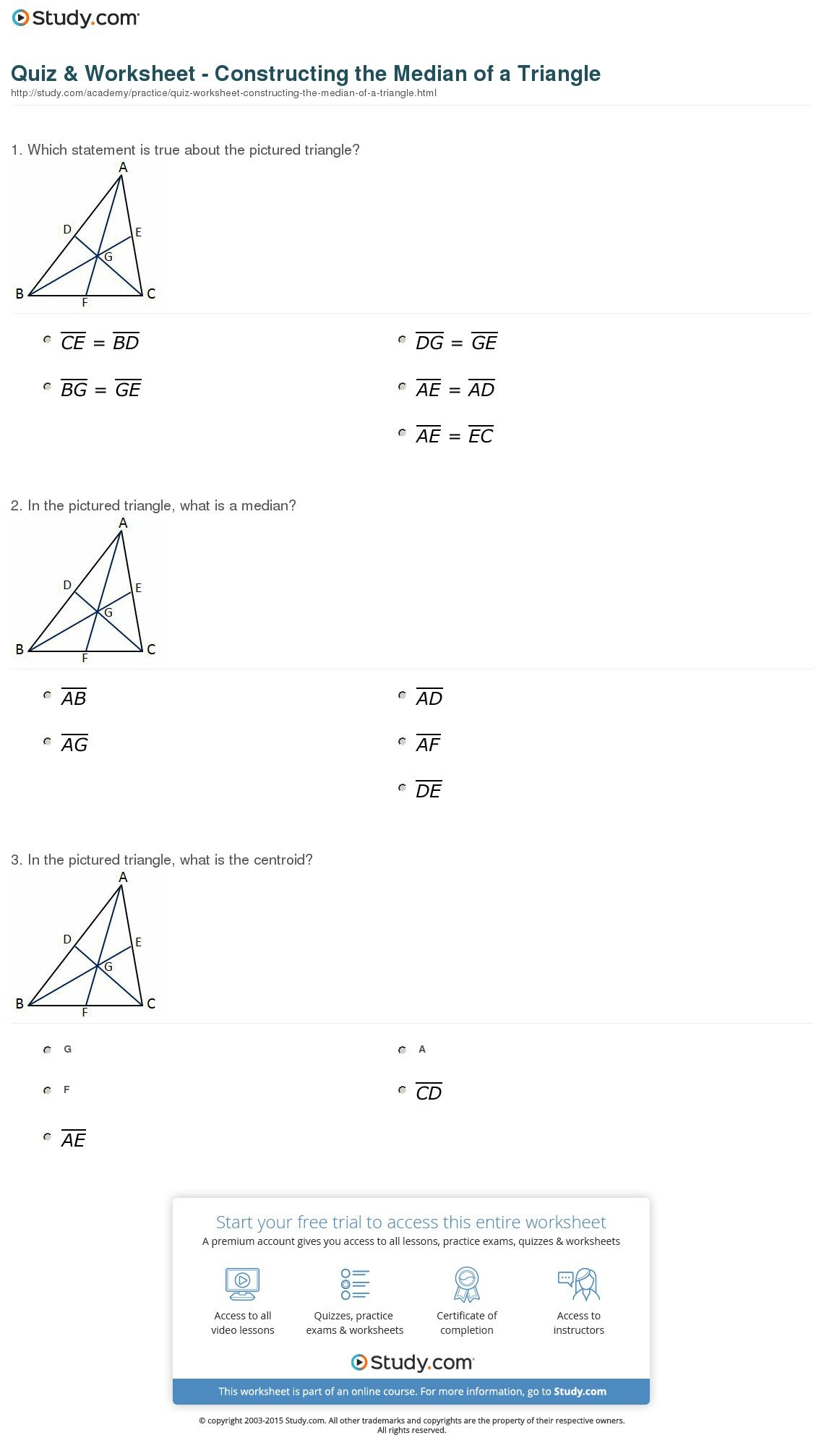 Quiz  Worksheet  Constructing The Median Of A Triangle  Study Regarding Medians And Centroids Worksheet Answers