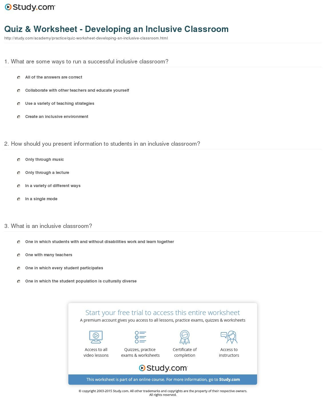 Quiz  Worksheet  Developing An Inclusive Classroom  Study Inside Science Worksheets Special Education
