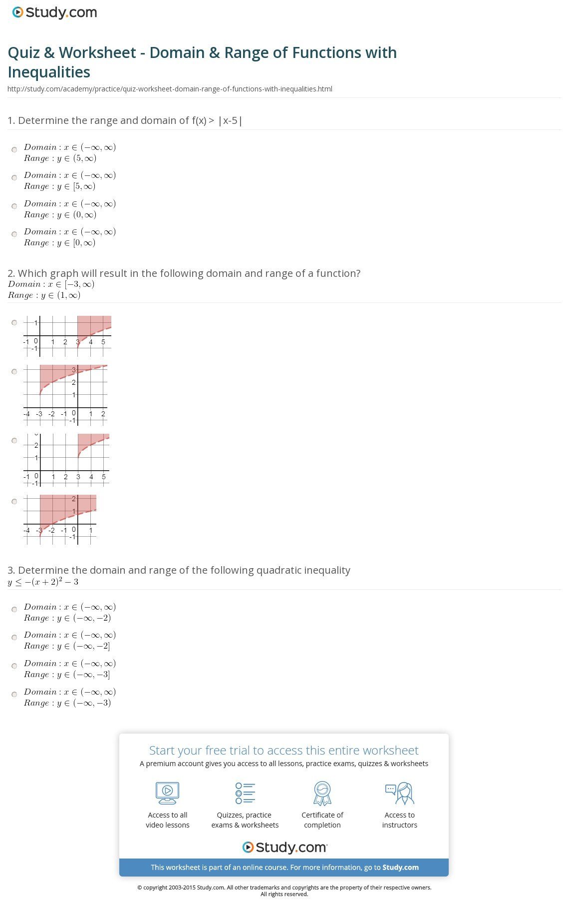 Quiz  Worksheet  Domain  Range Of Functions With Inequalities For Domain And Range From A Graph Worksheet