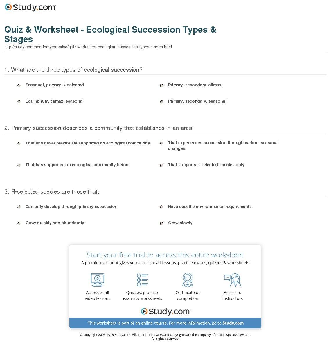 Quiz  Worksheet  Ecological Succession Types  Stages  Study Or Ecological Succession Worksheet
