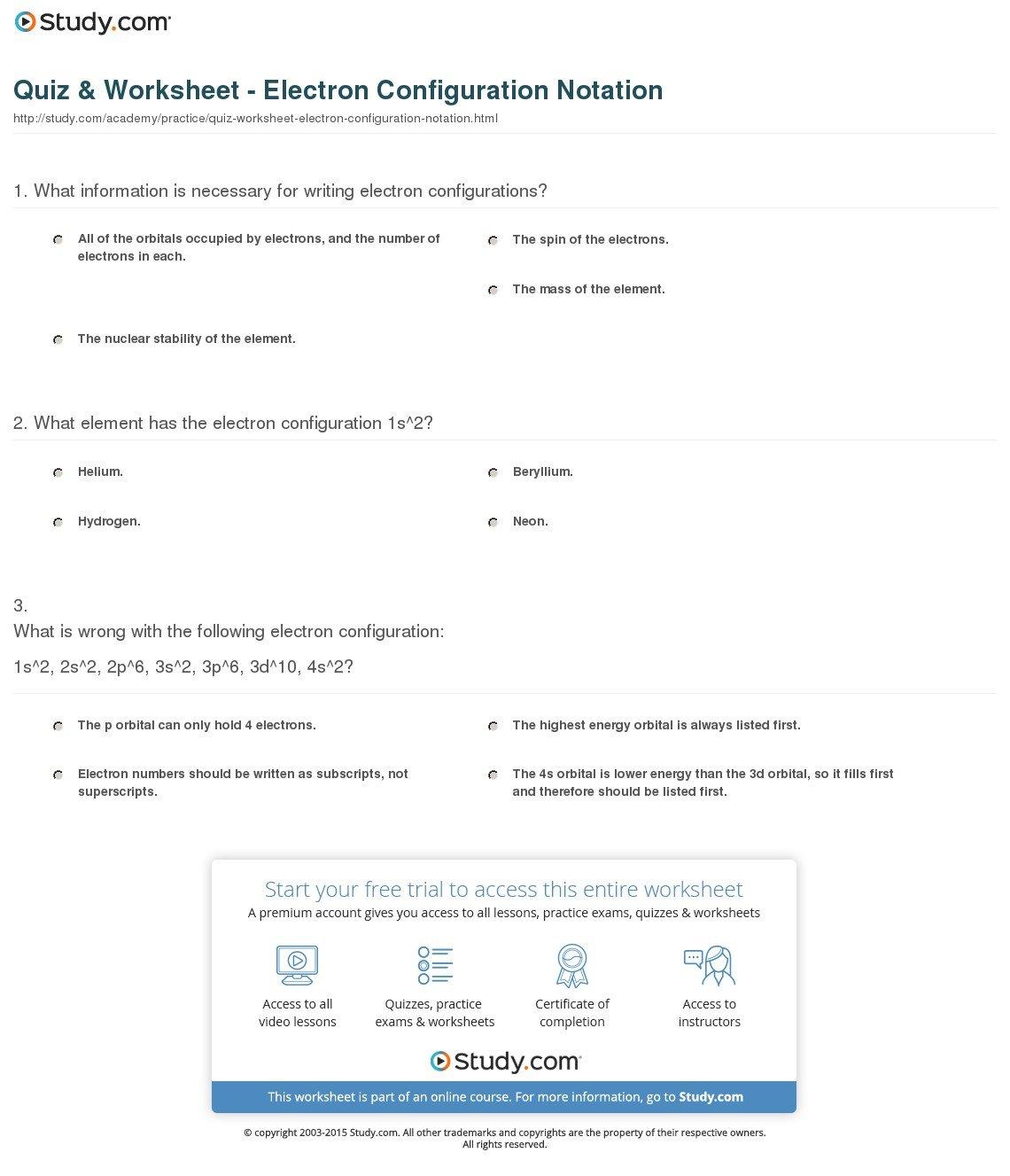 Quiz  Worksheet  Electron Configuration Notation  Study As Well As Writing Electron Configuration Worksheet Answer Key