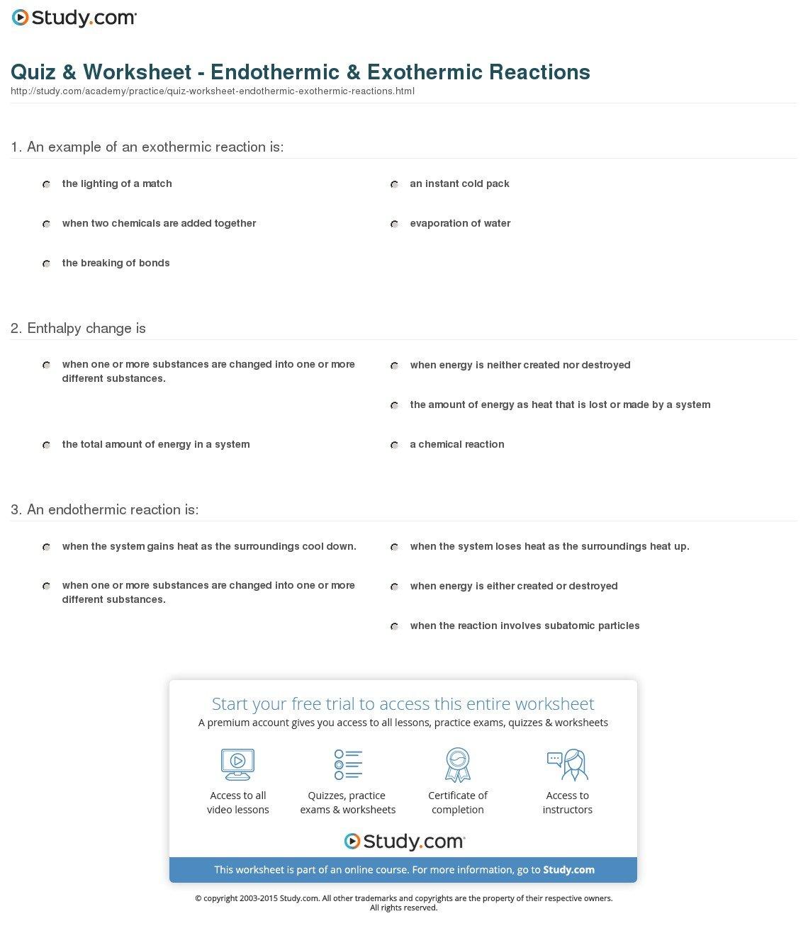Quiz  Worksheet  Endothermic  Exothermic Reactions  Study Regarding Endothermic And Exothermic Reaction Worksheet Answers