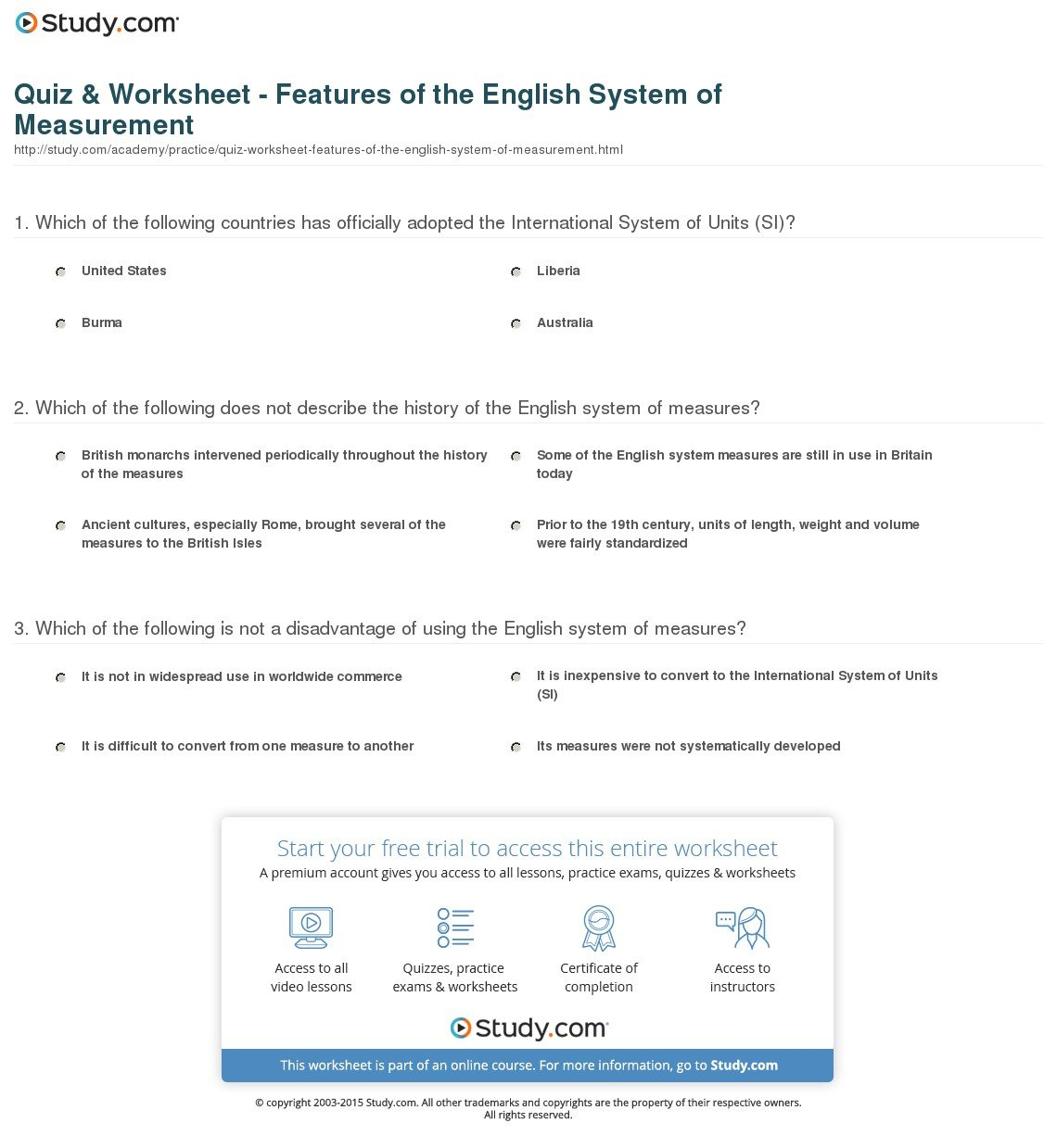 Quiz  Worksheet  Features Of The English System Of Measurement As Well As Science Instruments And Measurement Worksheet Answers