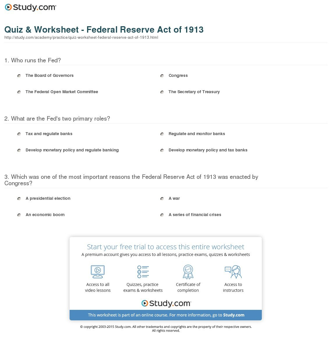 Quiz  Worksheet  Federal Reserve Act Of 1913  Study In Tools Of The Federal Reserve Worksheet Answer Key