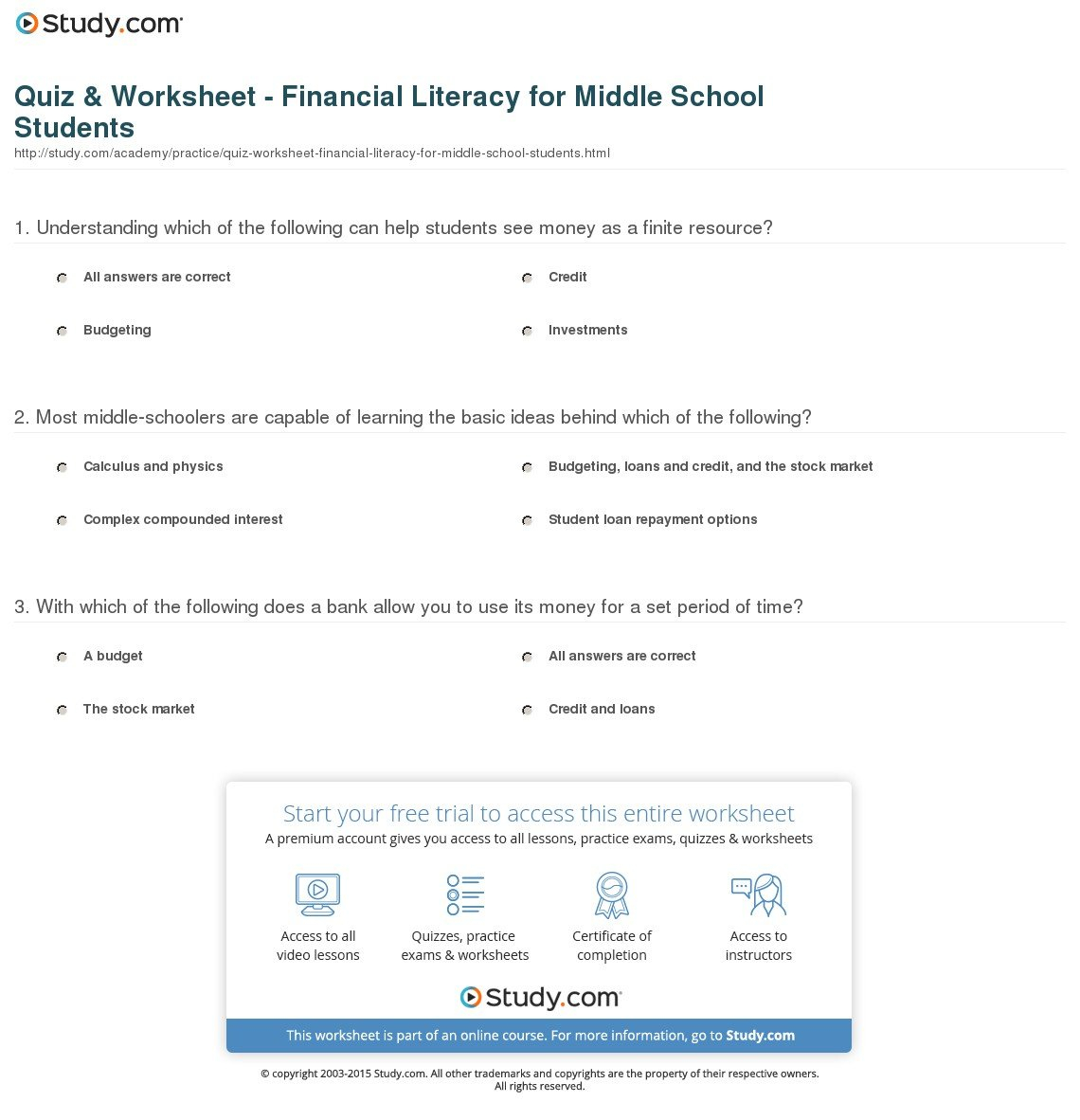Quiz  Worksheet  Financial Literacy For Middle School Students Together With Financial Literacy Worksheets