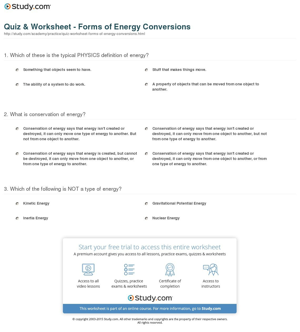 Quiz  Worksheet  Forms Of Energy Conversions  Study For Energy And Energy Transformations Worksheet Answer Key