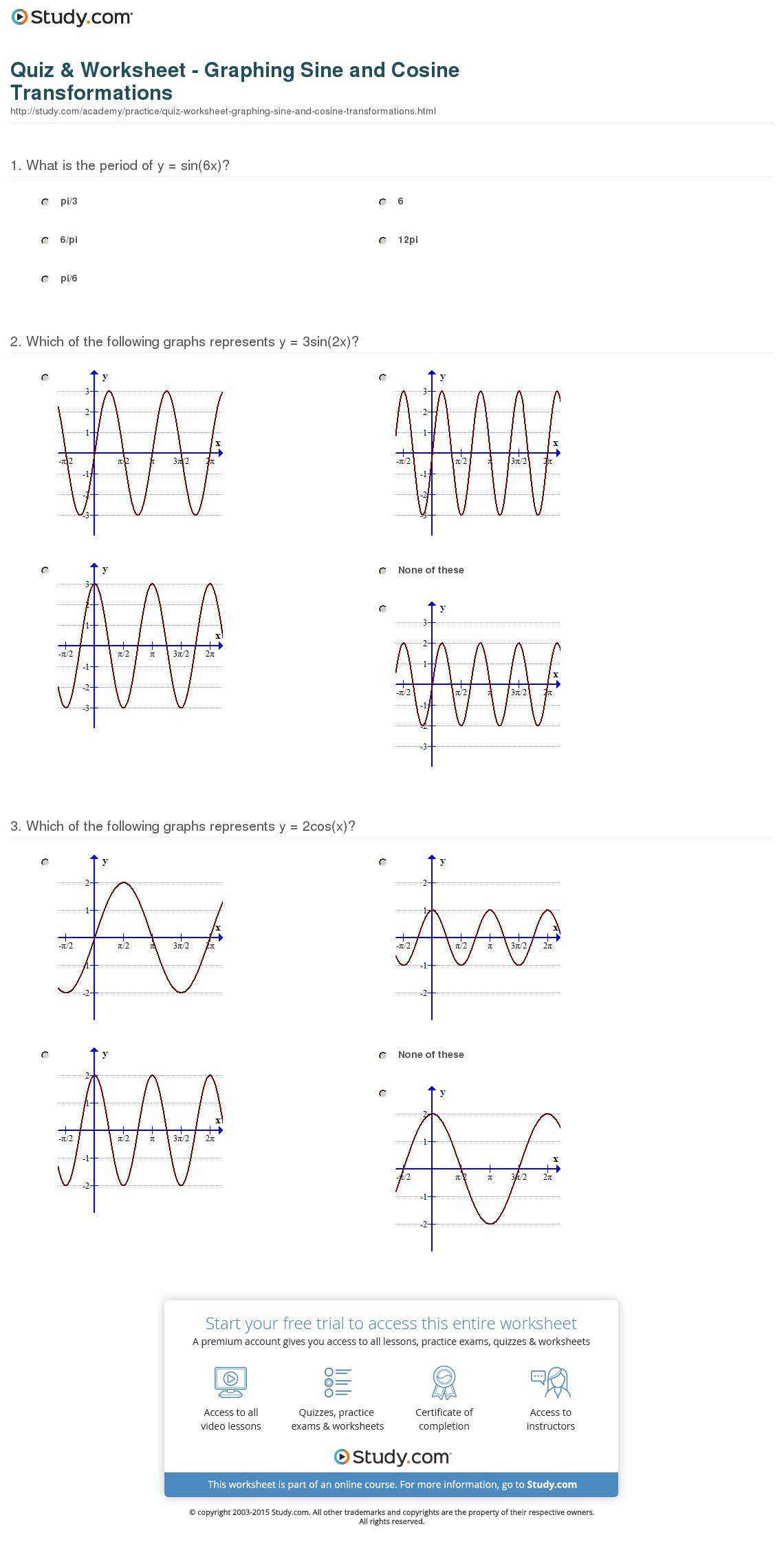 Quiz  Worksheet  Graphing Sine And Cosine Transformations  Study Along With Graphing Sine And Cosine Functions Worksheet Answers