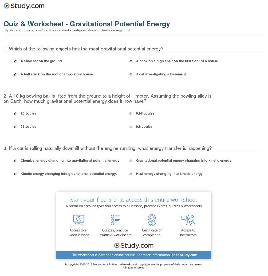 Quiz  Worksheet  Gravitational Potential Energy  Study Along With Potential Energy Problems Worksheet