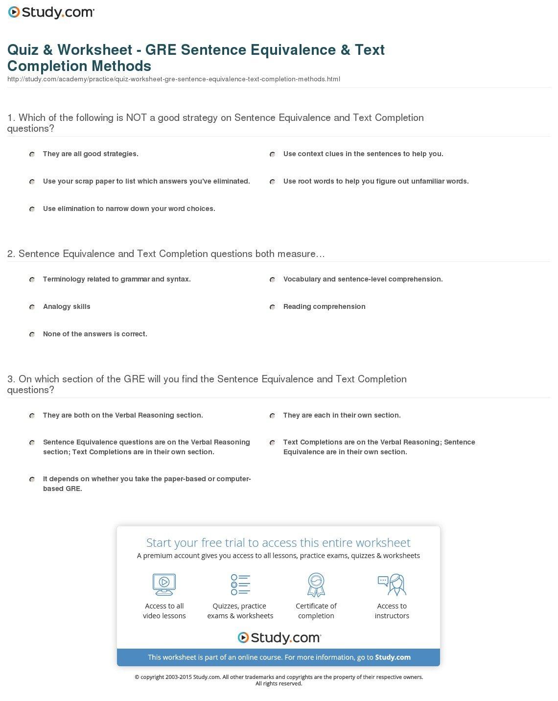 Quiz  Worksheet  Gre Sentence Equivalence  Text Completion For Restating Sentences Worksheet