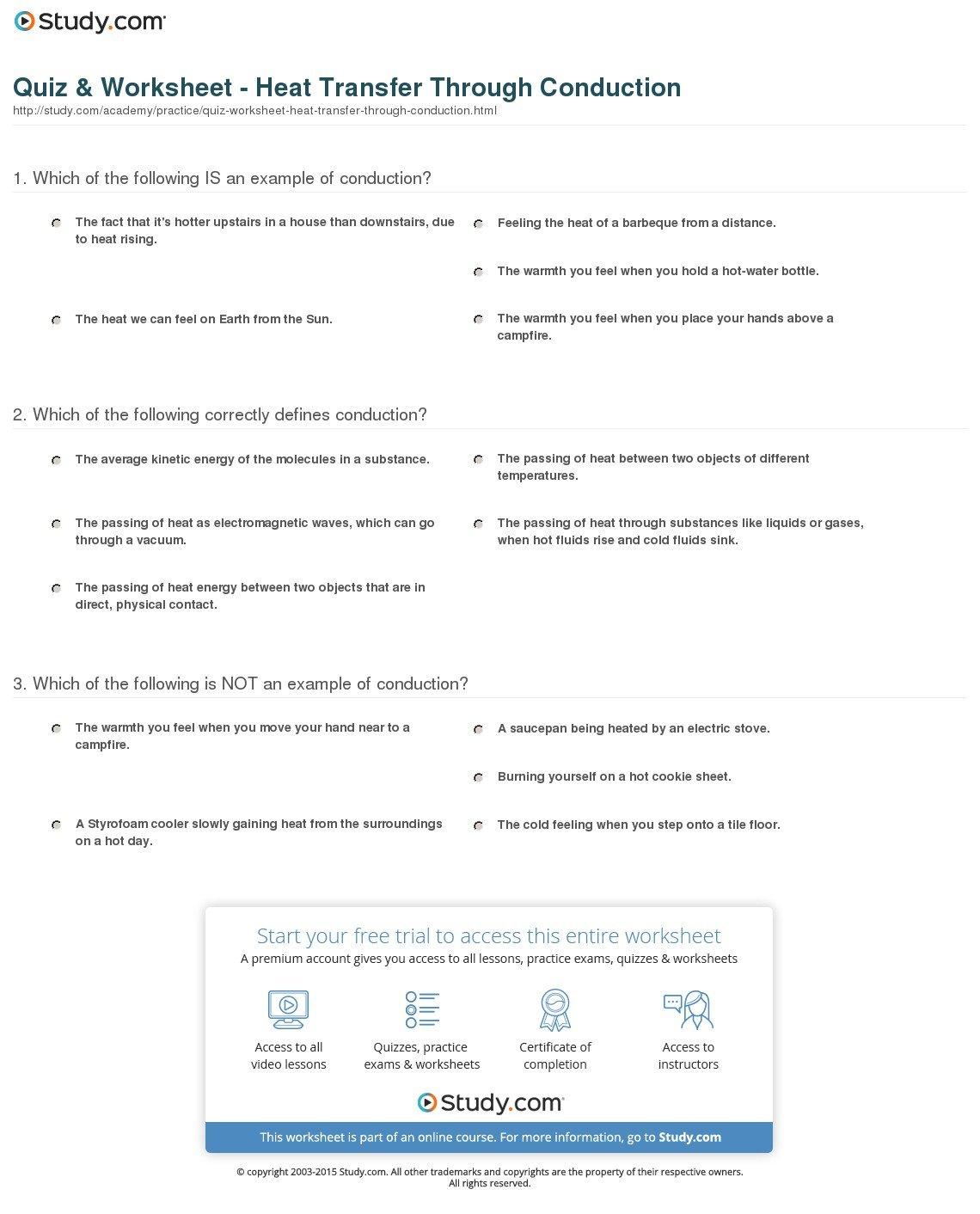 Quiz  Worksheet  Heat Transfer Through Conduction  Study For Heat Transfer Examples Worksheet