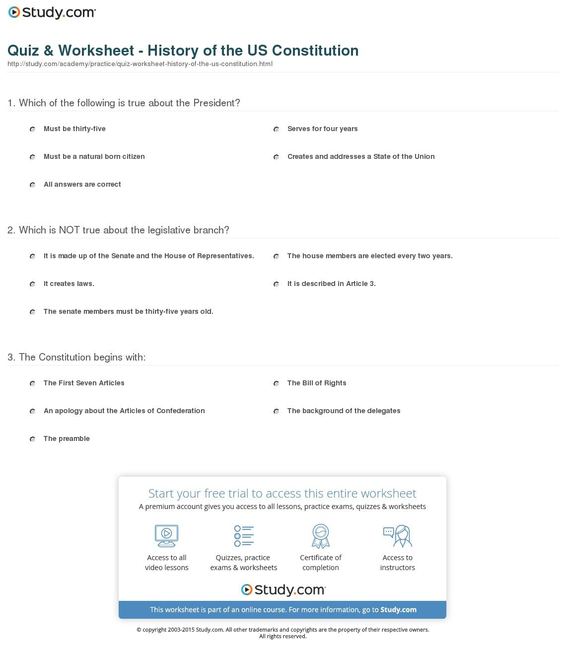 Quiz  Worksheet  History Of The Us Constitution  Study In United States Constitution Worksheet Answers