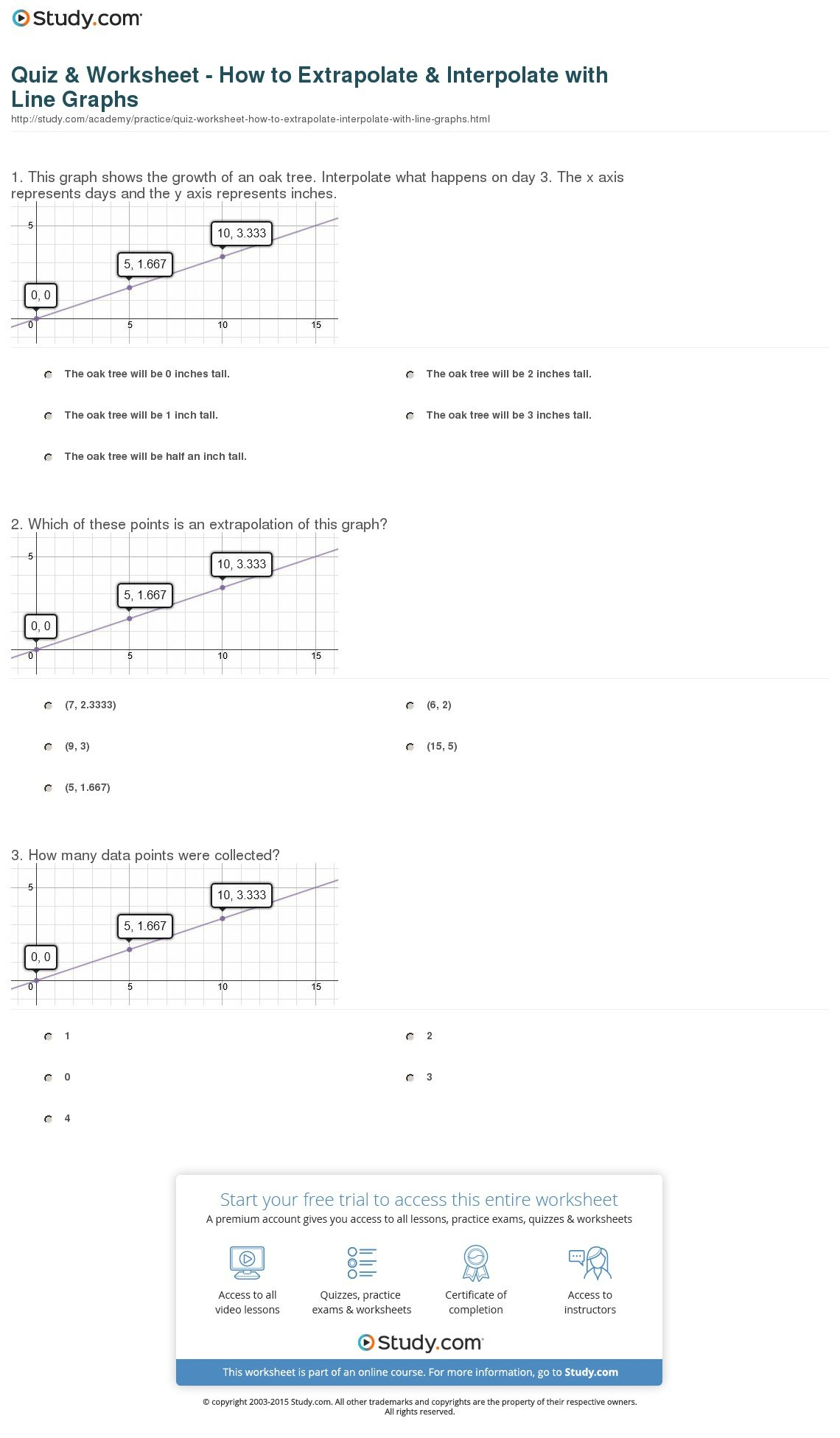 Quiz  Worksheet  How To Extrapolate  Interpolate With Line Graphs Within Line Graph Worksheets
