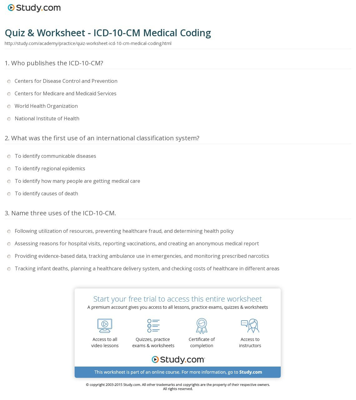 Quiz  Worksheet  Icd10Cm Medical Coding  Study Together With Medical Coding Practice Worksheets