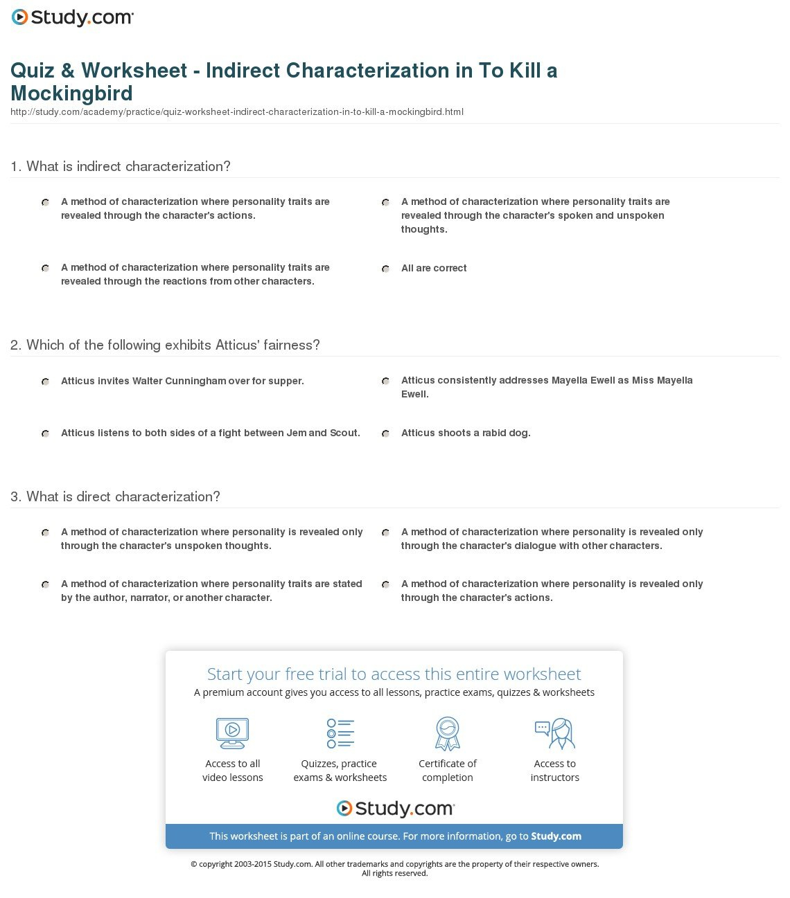 Quiz  Worksheet  Indirect Characterization In To Kill A Together With To Kill A Mockingbird Character Worksheet