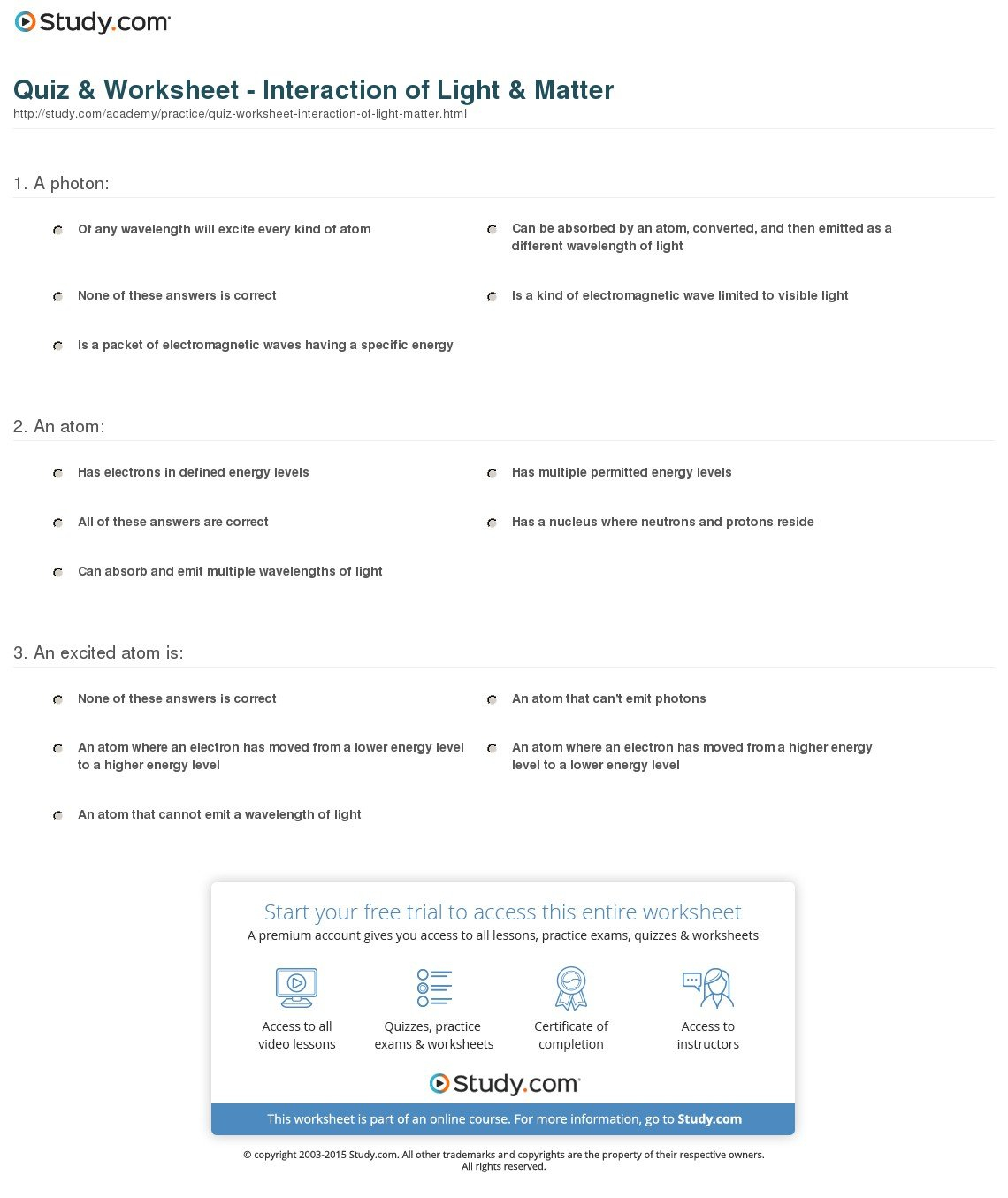 Quiz  Worksheet  Interaction Of Light  Matter  Study As Well As Electron Energy And Light Worksheet Answers